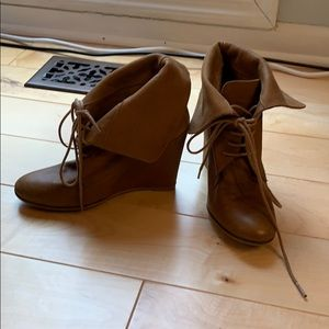 Zara Leather Lace Up Wedge Booties